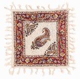 白棉布工艺品波斯语被打印的qalamkar 库存图片