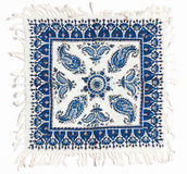 白棉布工艺品波斯语被打印的qalamkar 免版税库存图片