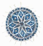 白棉布工艺品波斯语被打印的qalamkar 免版税库存照片