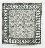 白棉布工艺品被打印的qalamkar传统 免版税库存图片