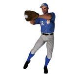 白棒球外野手 免版税库存照片