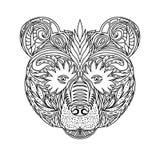 黑白森林熊的装饰品面孔野生野兽,装饰鞋带设计 成人彩图的页 手拉 免版税库存图片