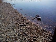 白海的沿海水域海角白海豚的,从监测blagami的塔的看法,索洛韦茨基群岛,阿尔汉格尔斯克 库存图片