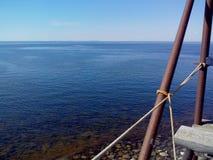 白海的沿海水域海角白海豚的,观看的塔blagami,索洛韦茨基群岛,阿尔汉格尔斯克oblast,俄罗斯 免版税图库摄影