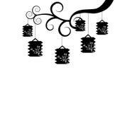 黑白灯笼 向量例证