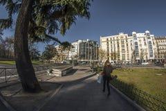 白点180人生观在市的街道的马德里 免版税库存照片