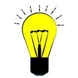 白炽电灯泡,黄色与一个黑概述,字符想法和能量灯点燃 免版税图库摄影