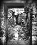 黑白照片的中国acient村庄 免版税库存图片