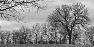 黑白照片的公墓 免版税库存图片