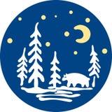 白熊在森林里 库存照片