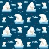 白熊无缝的样式 库存照片