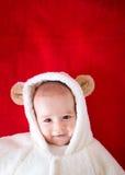 白熊服装的婴孩 免版税图库摄影