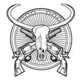 黑白狂放的西部的徽章 向量例证
