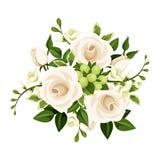 白玫瑰和小苍兰花花束  也corel凹道例证向量 免版税库存照片