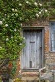 白玫瑰构筑的老木门 免版税库存图片