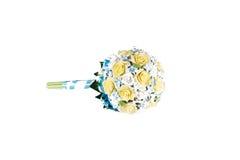 从白玫瑰的花卉婚礼花束和 图库摄影