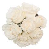 白玫瑰花束在白色背景隔绝的白色箱子的 图库摄影