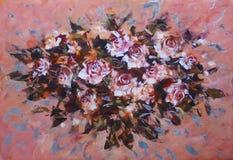 白玫瑰,手工制造绘画 库存图片