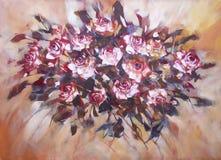 白玫瑰,手工制造绘画 免版税库存图片