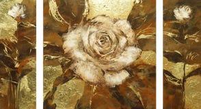 白玫瑰,手工制造绘画 免版税库存照片