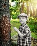 黑白男孩绘画森林颜色 免版税库存图片