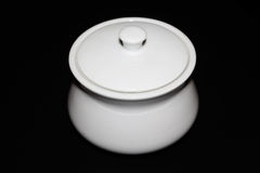 黑白白糖的碗 库存图片