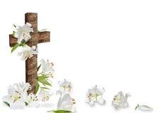 白百合和基督徒十字架 库存图片