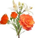 白百合和桔子玫瑰色花束 图库摄影