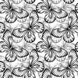 黑白的蝴蝶无缝的背景  库存照片