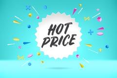 白皮书与文本热的价格的泡影云彩待售,购物的电视节目预告横幅,折扣设计 与云彩的传染媒介海报 向量例证