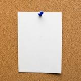 白皮书和蓝色推挤Pin在木板 图库摄影