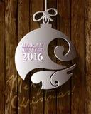 2016白皮书Origami新年好卡片 免版税图库摄影