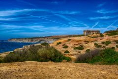 白礁海滩在Ericeira葡萄牙 库存图片