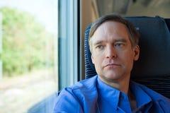 白种人人四十年代坐火车,通勤 库存照片