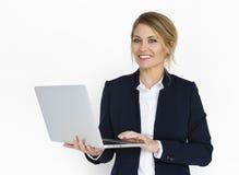 白种人夫人Laptop Work Concept 免版税图库摄影