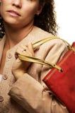 白种人女性购物 免版税图库摄影
