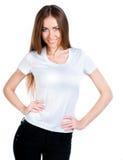 白种人干净的衬衣t青少年的佩带的白& 免版税库存照片