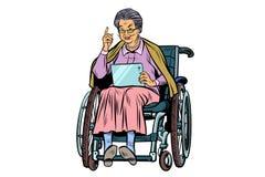白种人年长轮椅的妇女残疾人 皇族释放例证