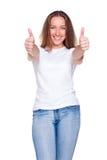 白种人快乐的妇女 免版税库存照片