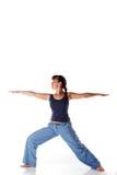 白种人执行的女孩查出姿势白色瑜伽 免版税库存图片