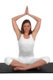 白种人执行的适合的女子瑜伽年轻人 库存图片