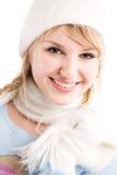 白种人方式女孩冬天 免版税库存图片