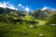 白种人横向山 高山草甸和峭壁在夏日 库存照片