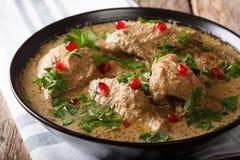 白种人烹调:与鸡和石榴特写镜头的Satsivi 免版税库存照片