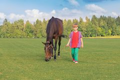 白种人男孩在一匹高马的场合举办在短发绿色领域的在好日子 在背景森林, 库存照片