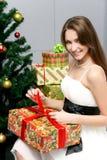白种人礼品愉快的空缺数目妇女 库存照片