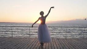 白种人美丽的女孩舞蹈家正面图在前面执行站立海的古典芭蕾的元素  股票录像