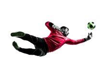 白种人足球运动员守门员人跳跃的剪影 免版税库存照片