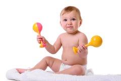 白种人婴孩开会 免版税图库摄影