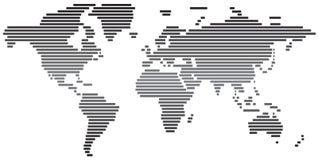 黑白简单的抽象的世界地图 免版税库存照片